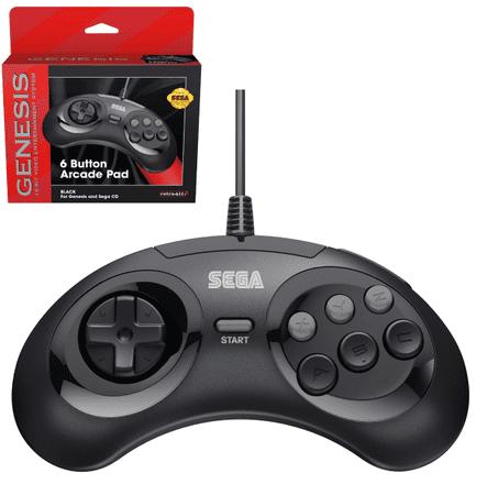 Sega Retro-Bit MD Mini 6-B USB igrača ploča, crna (Hardware)