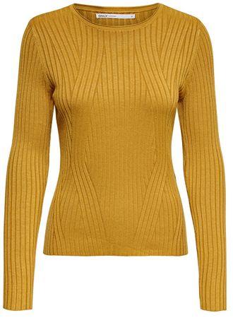 ONLY Női pulóver ONLNATALIA L/S RIB PULLOVER KNT NOOS Harvest Gold (méret XS)