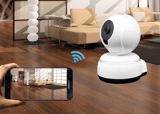 Wi-Fi IP kamera IQ-Tech SmartLife WC005, dvoucestné audio, mikrofon, reproduktor, otáčení, rotace, rotační, fotografie a videa do telefonu