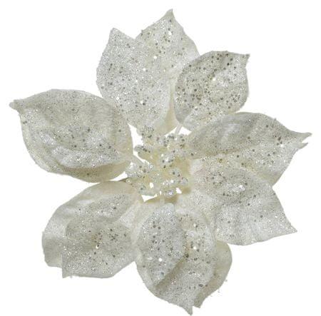 Kaemingk božična zvezda, na sponko, pribl. 16 cm, bela z bleščicami