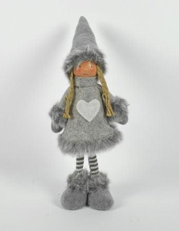 DUE ESSE figurka dekoracyjna - dziewczynka, 40 cm, szara w paski