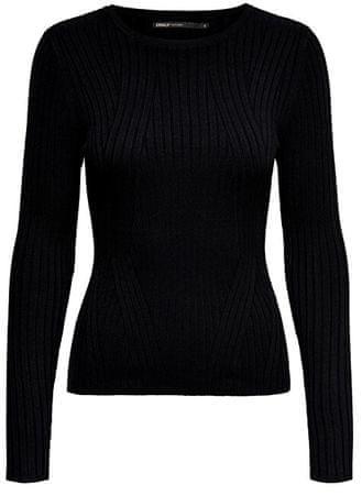 ONLY Dámsky sveter ONLNATALIA L/S RIB PULLOVER KNT NOOS Black (Veľkosť XS)