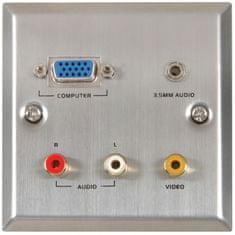 AV:link  VGA/Audio/Video zásuvka, ocelová