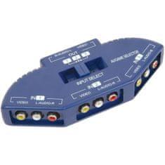 AV:link  Audio/Video input selector, 3 cestný, modrý - rozbaleno (SA128553)