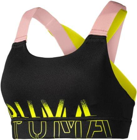 Puma Feel It Bra M Black-Bridalrose-Yellowalert športni nedrček, L