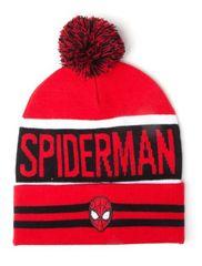 Spiderman Zimní čepice Spiderman - Logo, červená s bambulí