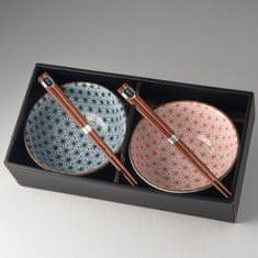 MIJ Set misiek Asanoha Design s paličkami červená a modrá 2 ks