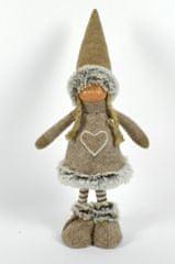 DUE ESSE Dekorace stojící panenka 40 cm hnědá s proužky
