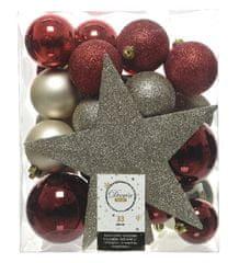 """Kaemingk 33 darabos karácsonyfadísz szett beleértve a csúcsdíszt """"MIXBOX"""", műanyag"""