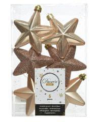 """Kaemingk Set 6 ks vianočných ozdôb """"Hviezda"""", 7,5 cm, béžová, plast"""