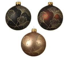 """Kaemingk Set 6 ks vianočných ozdôb """"Ginkgo"""", sklenené, matné"""