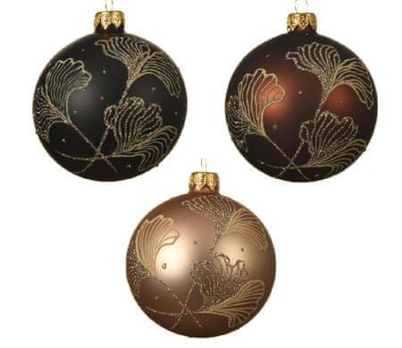 """Kaemingk Set 6 ks vánočních ozdob """"Ginkgo"""", skleněné, matné"""