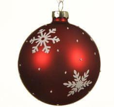 """Kaemingk Set 3 ks vianočných ozdôb """"Vločka"""", 8 cm, červené, sklenené"""