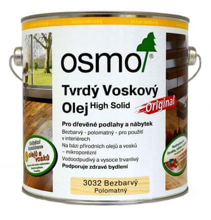 OSMO Tvrdý voskový olej, Bezfarebný hodvábny polomat, 0,75 l
