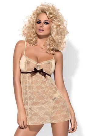 Obsessive Női erotikus kombiné Caramella babydoll, bézs, S/M