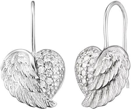 Engelsrufer Srebrni uhani Srce z angelovimi krili in cirkoni ERE-HEARTWING-Z srebro 925/1000