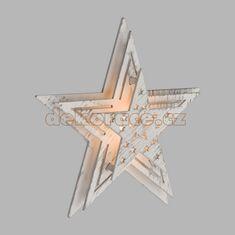 Xmas King Bateriová LED hvězda 16cm, bílé dřevo/teple bílá LED