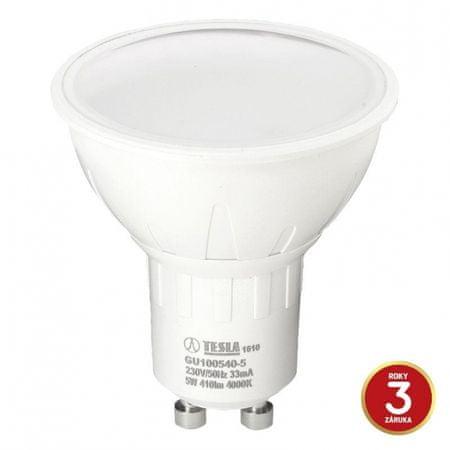 Tesla Tesla - LED žárovka GU10, 5W, 230V, 410lm, 20 000h, 4000K studená bílá, 100°