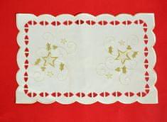 DUE ESSE Karácsonyi asztalterítő 44,5 x 29 cm, fehér