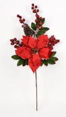DUE ESSE Vánoční dekorace větvička s vánoční růží a bobulemi 55 cm