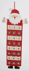 DUE ESSE Adventní kalendář s kapsičkami 91 x 38 cm, Santa, rovný knír