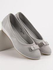 Vinceza Trendy dámské šedo-stříbrné baleríny bez podpatku