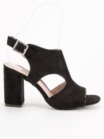 Vinceza Praktické dámské černé sandály na širokém podpatku, černé, 37