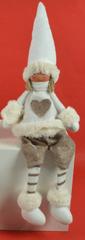 DUE ESSE dekoracija sjedeća lutka, 20 cm, bijela