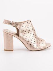 Vinceza Luxusní dámské zlaté sandály na širokém podpatku + dárek zdarma