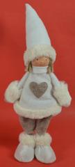 DUE ESSE Dekorace stojící panenka 40 cm bílá krátké vlasy