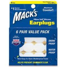Mack's Macks Pillow Soft® silikonové tvarovatelné ucpávky špunty do uší bílé 6 párů
