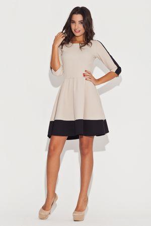 Katrus Női ruha K057 black - beige, bézs-fekete, M