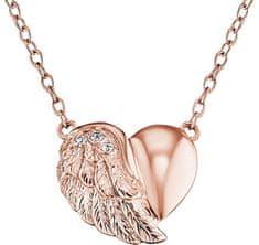 Engelsrufer Ružovo pozlátený strieborný náhrdelník Srdce s krídlom a zirkónmi ERN-LILHW-R striebro 925/1000