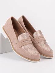 BESTELLE Klasické mokasíny dámské růžové na plochém podpatku