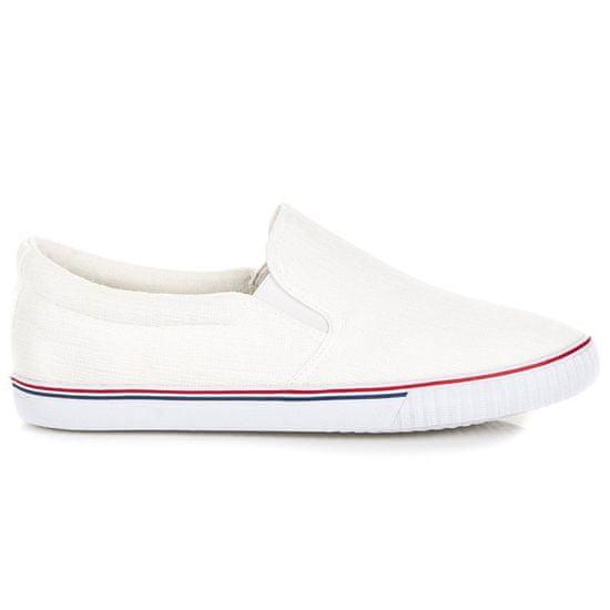Vkusné bílé nazouvací tenisky + Ponožky Gatta Calzino Strech, bílé, 41