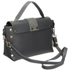 Moderní šedá kožená kufříková kabelka se cvočky