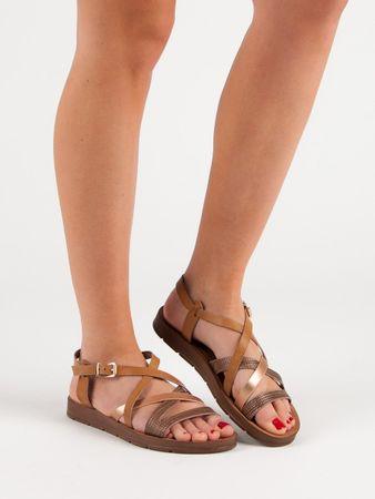 Sandały damskie 51694, odcienie brązu i beżu, 38