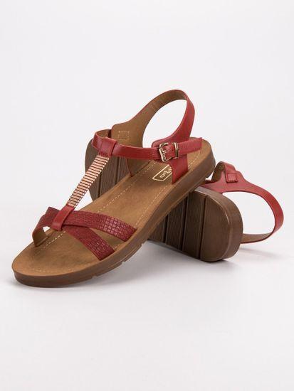 Stylové červené sandály dámské bez podpatku + Ponožky Gatta Calzino Strech, odstíny červené, 36