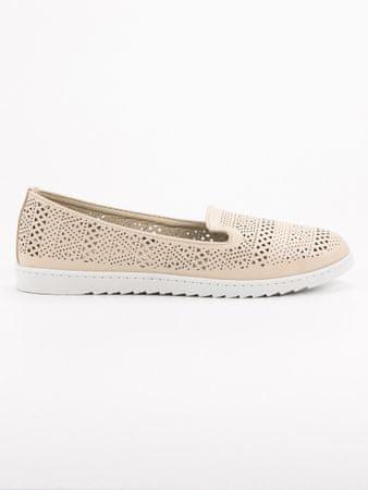 Női balerina cipő 52548, bézs és barna árnyalat, 37