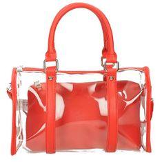 Průhledná kabelka s červeným pouzdrem + dárek zdarma