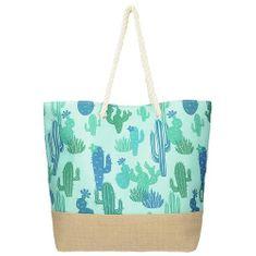 Modrá plážová taška s potiskem kaktusů