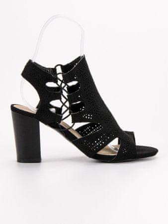 Výborné černé sandály dámské na širokém podpatku + dárek zdarma, černé, 37