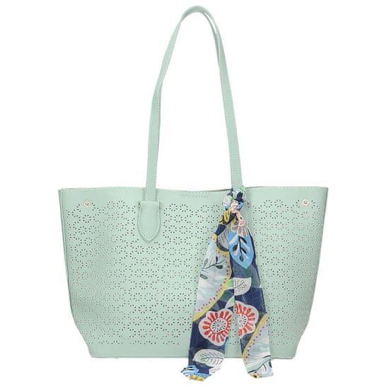 Módní zelená ažurová kabelka s šátkem + Ponožky Sophia 2pack visone, odstíny zelené, UNIVERZáLNí