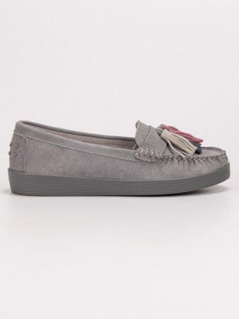 Designové dámské šedo-stříbrné mokasíny bez podpatku, odstíny šedé a stříbrné, 37