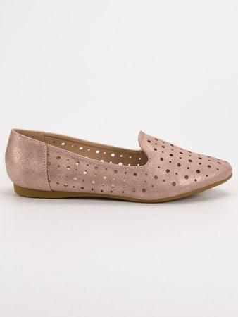 Női balerina cipő 52160, bézs és barna árnyalat, 38