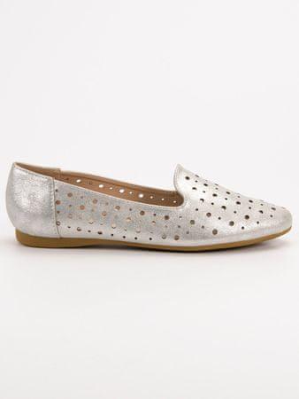 Női balerina cipő 52161 + Nőin zokni Sophia 2pack visone, szürke és ezüst árnyalat, 36