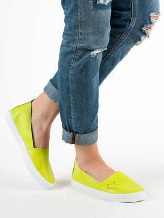 Luxusní dámské zelené tenisky bez podpatku, odstíny zelené, 38
