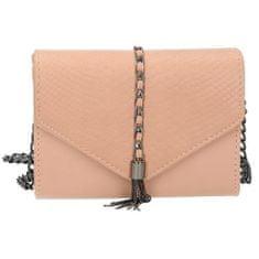 Elegantní růžová kabelka s kovovým řemínkem přes rameno
