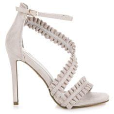 Originálne riešené šedé sandále na ihličkovom podpätku