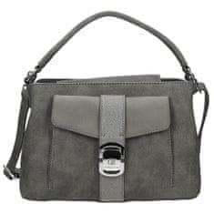 Pěkná šedá kabelka s přezkou na přední straně